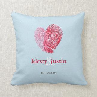 CUSTOM CUSHION simple fingerprint heart couple Throw Pillows