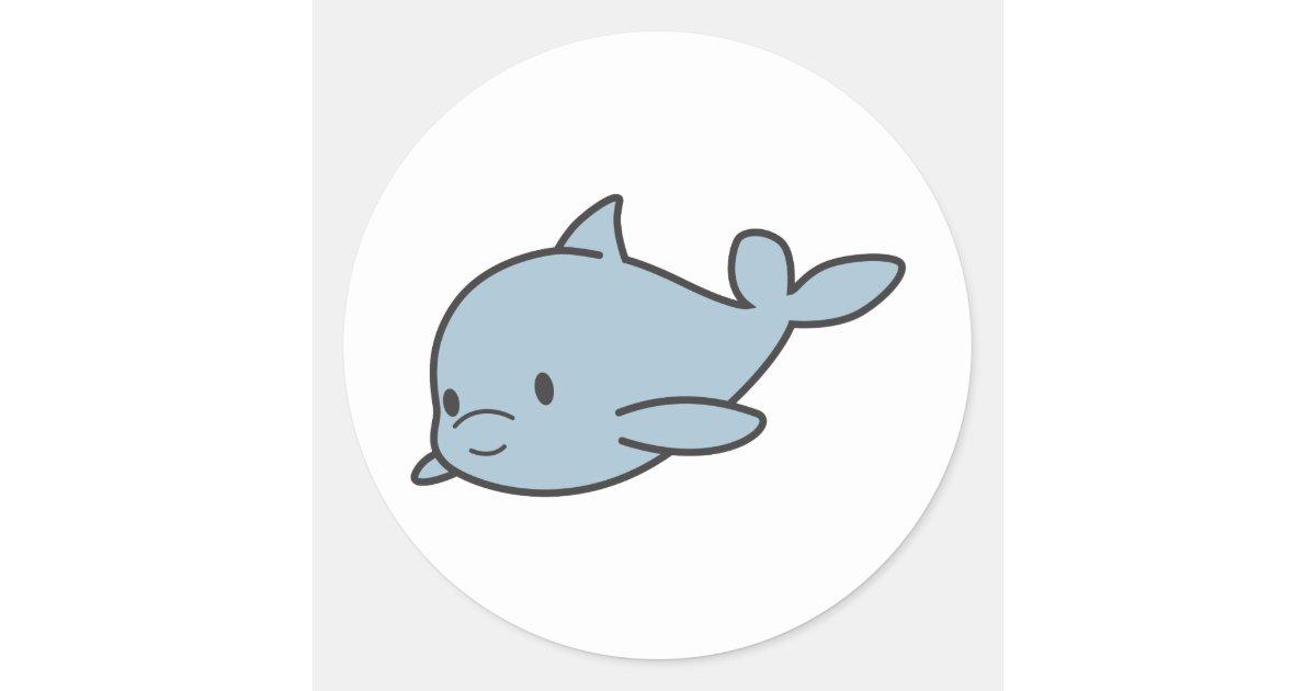 Custom Cute Baby Dolphin Cartoon Classic Round Sticker ...