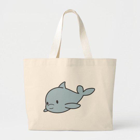 Custom Cute Baby Dolphin Cartoon Large Tote Bag