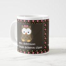 Custom Cute Baby Girl Owl, Pink/Green/Brown Mug