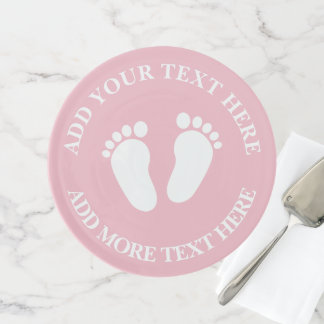 Custom cute baby shower footprint cake stand plate