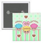 Custom Cute Birthday Girl Kawaii Cupcakes Button 2 Inch Square Button