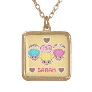 Custom Cute Birthday Girl Kawaii Cupcakes Necklace