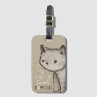 Custom Cute Cat Illustration Paws Off Luggage Tag