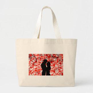 Custom Cute Couple Silhouette Hearts Anniversary Large Tote Bag