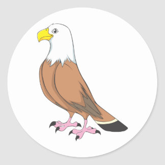 Custom Cute Eagle Cartoon Classic Round Sticker