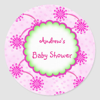 Custom Cute Floral Baby Shower Favor Sticker