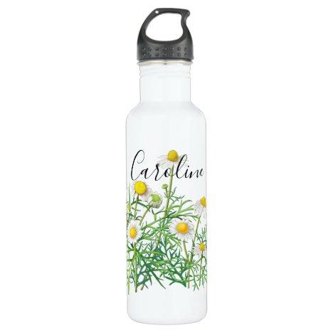 Custom Cute Fun Vintage Camomile Flowers Stainless Steel Water Bottle