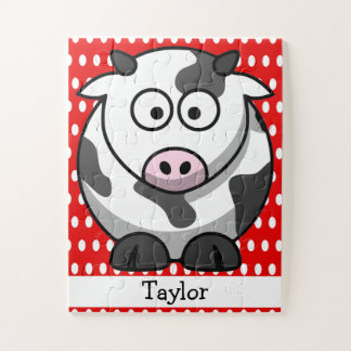 Custom Cute Funny Cartoon Cow Red Polka Dot Jigsaw Puzzle