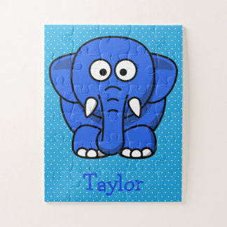 Custom Cute Funny Cartoon Elephant Jigsaw Puzzle