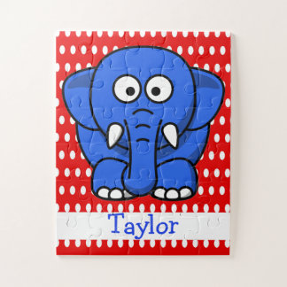 Custom Cute Funny Cartoon Elephant Red Polka Dot Jigsaw Puzzle