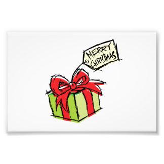 Custom Cute Gift Box with Merry Christmas Tag Card Photo Print