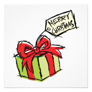 Custom Cute Gift Box with Merry Christmas Tag Card Photo Art