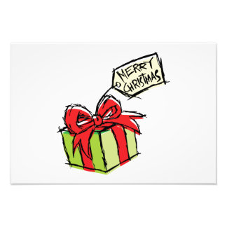 Custom Cute Gift Box with Merry Christmas Tag Card Photographic Print