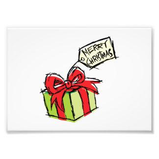 Custom Cute Gift Box with Merry Christmas Tag Card Photograph