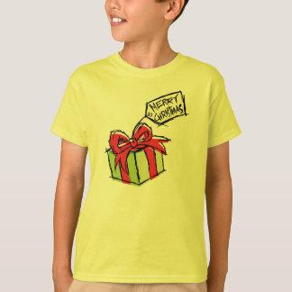 Custom Cute Gift Box with Merry Christmas Tag Kids T-Shirt