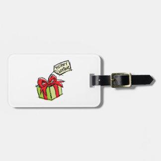 Custom Cute Gift Box with Merry Christmas Tag Mugs Tag For Luggage