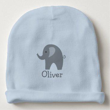 Toddler & Baby themed Custom cute gray elephant blue boy baby beanie hat