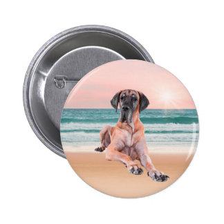 Custom Cute Great Dane Dog Sitting on Beach Button