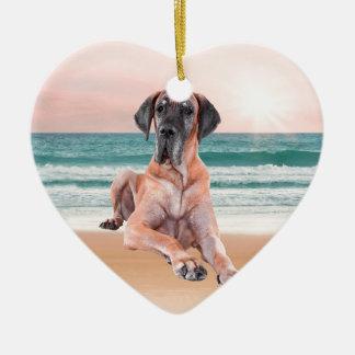 Custom Cute Great Dane Dog Sitting on Beach Ceramic Ornament