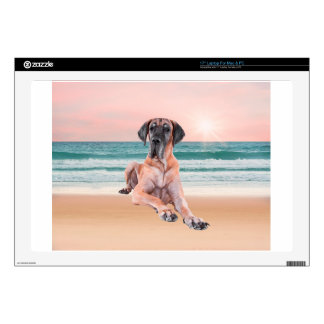 Custom Cute Great Dane Dog Sitting on Beach Laptop Skin