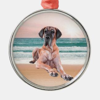Custom Cute Great Dane Dog Sitting on Beach Metal Ornament