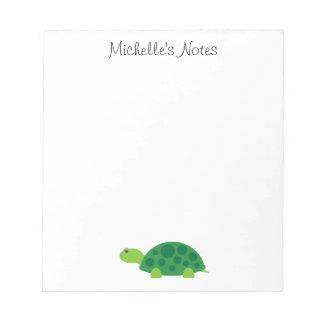 Custom cute green turtle animal design notepad