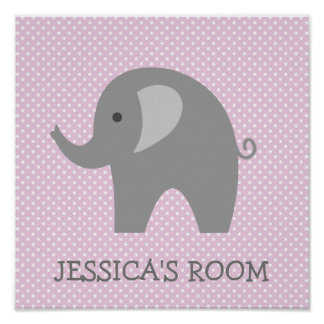 Custom cute grey elephant nursery wall art poster