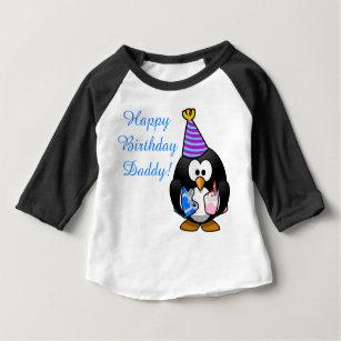 Custom Cute Happy Birthday Daddy Baby Penguin T Shirt