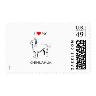 Custom Cute I Love My Chihuahua Postage Stamp