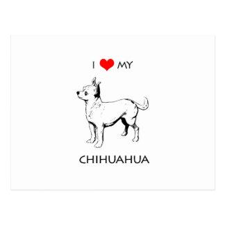 Custom Cute I Love My Chihuahua Postcard