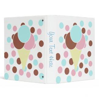 Custom Cute Ice Cream Cone Binder binder