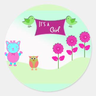 Custom Cute Its a Girl Baby Shower Favor Sticker