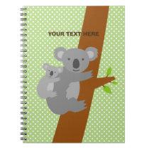 Custom cute koala bear polka dots notebook