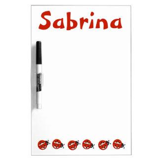 Custom Cute Ladybugs Kids Girls Red White Dry-Erase Board