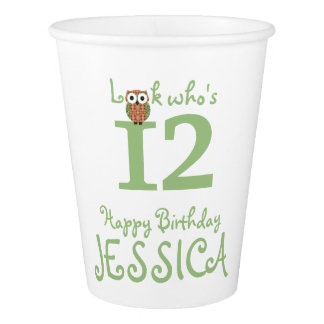 Custom Cute Owl Birthday Party Paper Cup