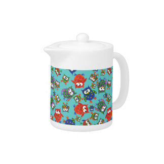 Custom Cute Owls Teapot, Red and Blue on Turquoise Teapot