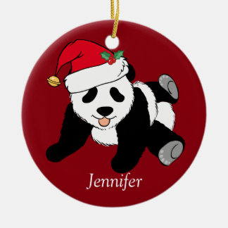 Custom Cute Panda Bear Kids Red Ceramic Ornament