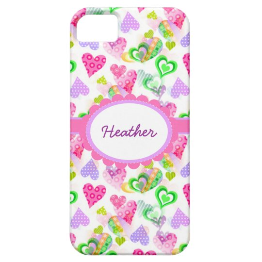 Custom Cute Pastel Hearts iPhone 5 Barely There iPhone SE/5/5s Case