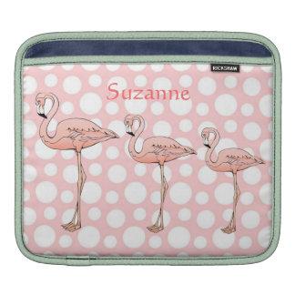 Custom Cute Polka Dots and Pink Flamingo Sleeve For iPads