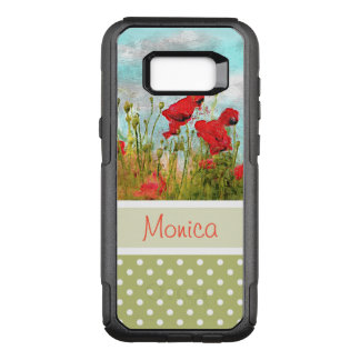 Custom Cute Poppy Flowers Meadow Field Watercolor OtterBox Commuter Samsung Galaxy S8+ Case