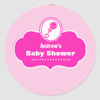 Custom Cute Rattle Baby Shower Favor Sticker