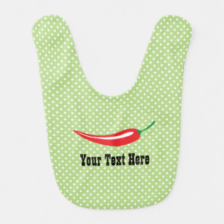Custom cute red chili pepper polka dots baby bib