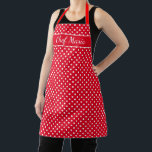 """Custom cute red & white polka dots pattern kitchen apron<br><div class=""""desc"""">Custom cute red and white polka dots pattern kitchen Apron. Custom cooking and baking aprons for women and men. Personalized with your name or funny quote. Pretty fashion print design with elegant typography template. Create your own unique Birthday party gift for cute mom, bride, dad, father, mother, wife, daughter, sister,...</div>"""