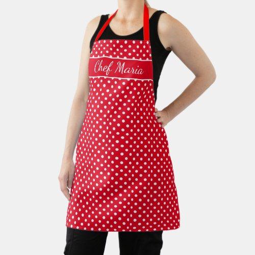Custom cute red & white polka dots pattern kitchen apron