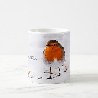 Custom cute Robin bird in snow add name Coffee Mug