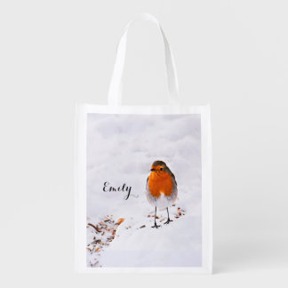 Custom cute Robin bird in snow add name Grocery Bag
