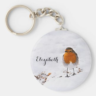 Custom cute Robin bird in snow add name