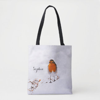Custom cute Robin bird in snow add name Tote Bag