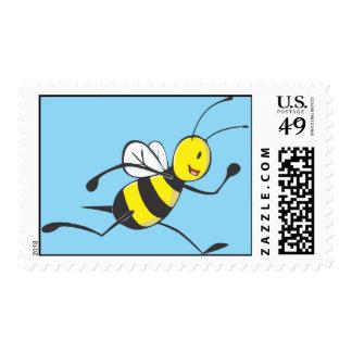 Custom Cute Running Bee Postage Stamp